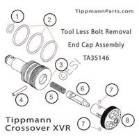 Tippmann Crossover XVR Tool Less Bolt Removal End Cap Assembly Diagram