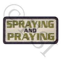 Spraying Praying Embroidered Patch with Hook and Loop Backing