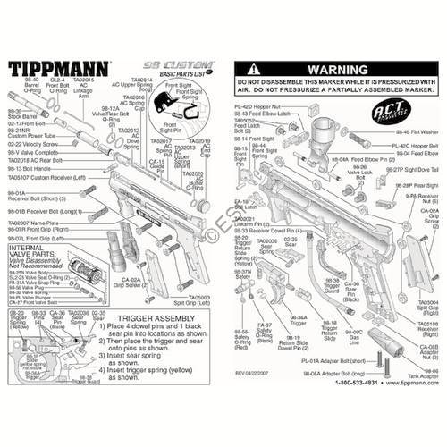 tippmann 98 custom act gun diagram rh tippmannparts com tippmann 98 custom diagram tippmann 98 exploded diagram