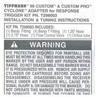 Tippmann 98 Custom Cyclone Feed Hopper Adapter For Response Trigger Install V050715 TPL Manual